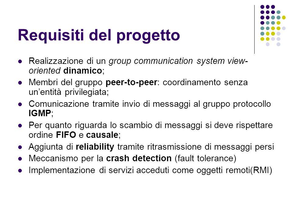 Requisiti del progetto Realizzazione di un group communication system view- oriented dinamico; Membri del gruppo peer-to-peer: coordinamento senza un'