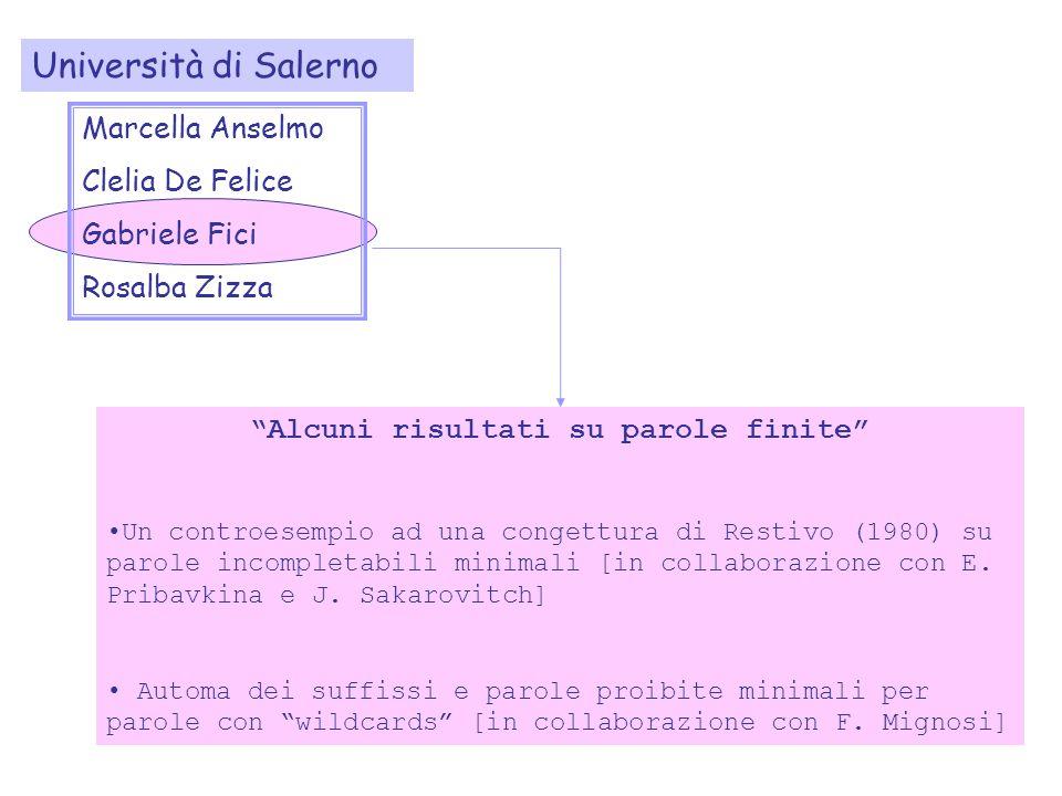 Alcuni risultati su parole finite Un controesempio ad una congettura di Restivo (1980) su parole incompletabili minimali [in collaborazione con E.