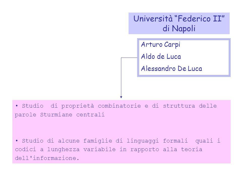 Studio di proprietà combinatorie e di struttura delle parole Sturmiane centrali Studio di alcune famiglie di linguaggi formali quali i codici a lunghezza variabile in rapporto alla teoria dell informazione.