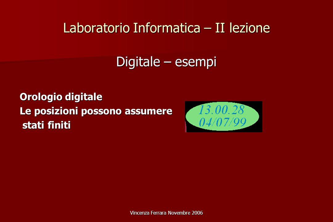 Vincenza Ferrara Novembre 2006 Laboratorio Informatica – II lezione Digitale – esempi Orologio digitale Le posizioni possono assumere stati finiti stati finiti