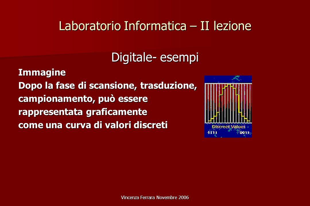 Vincenza Ferrara Novembre 2006 Laboratorio Informatica – II lezione Digitale- esempi Immagine Dopo la fase di scansione, trasduzione, campionamento, può essere rappresentata graficamente come una curva di valori discreti