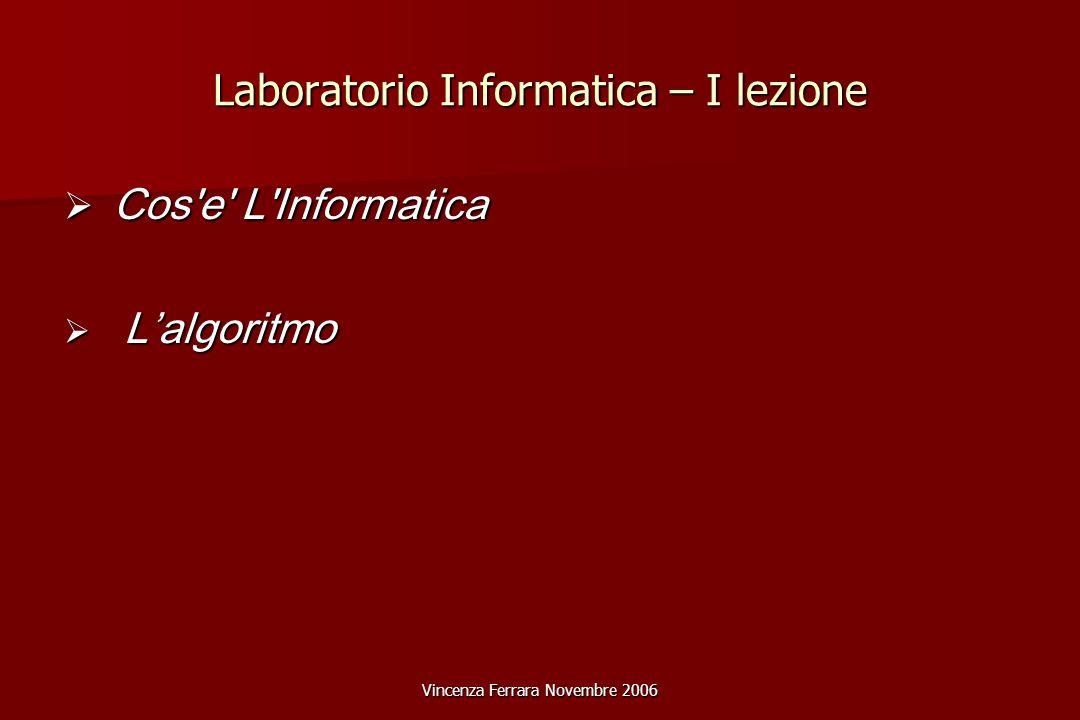 Vincenza Ferrara Novembre 2006 Laboratorio Informatica – I lezione  Cos e L Informatica  L'algoritmo