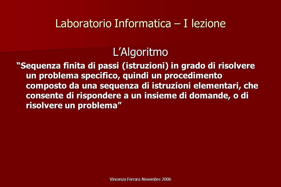 Vincenza Ferrara Novembre 2006 Laboratorio Informatica – II lezione Analogico- esempi Immagine Costituita da tante variazioni di luminosità individuate sul piano cartesiano.