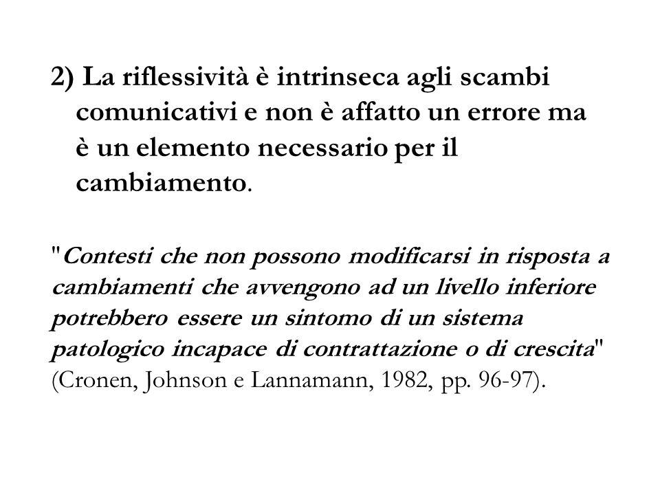 2) La riflessività è intrinseca agli scambi comunicativi e non è affatto un errore ma è un elemento necessario per il cambiamento.