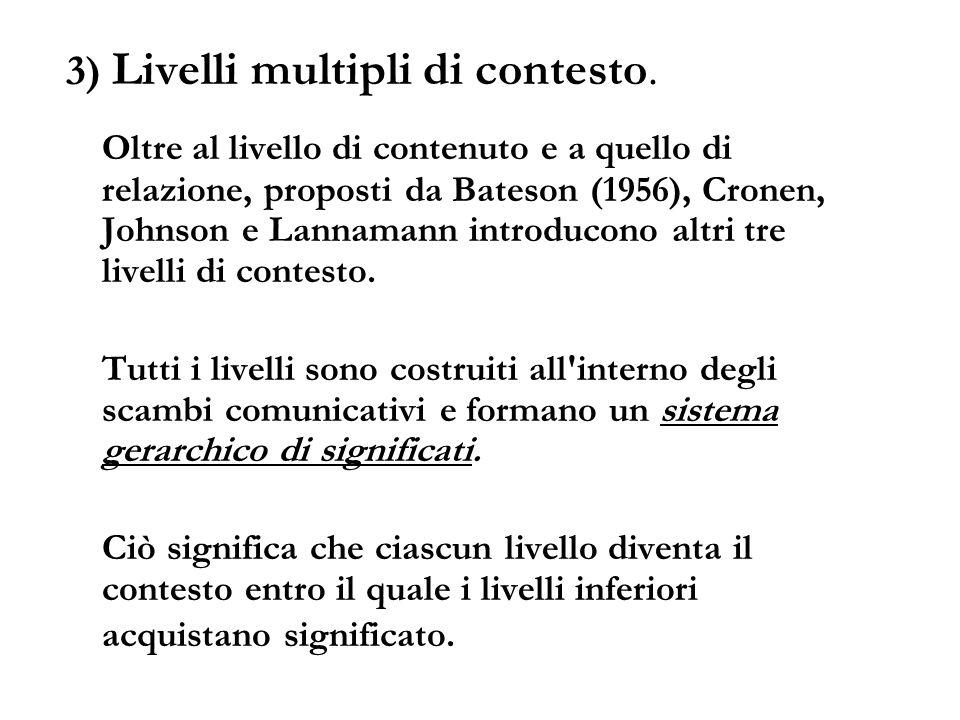 3) Livelli multipli di contesto. Oltre al livello di contenuto e a quello di relazione, proposti da Bateson (1956), Cronen, Johnson e Lannamann introd