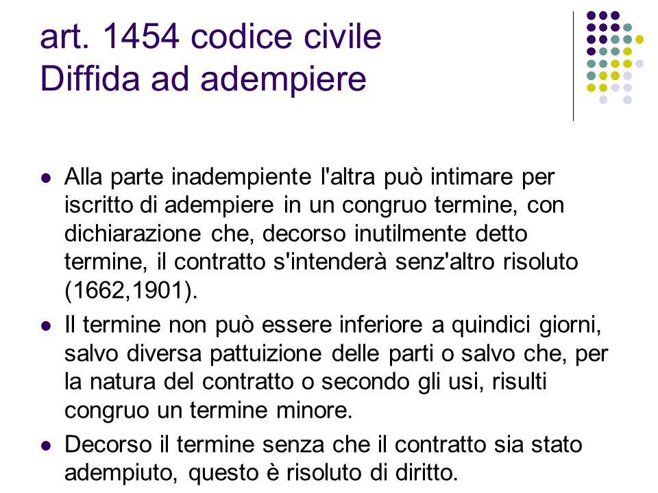 art. 1454 codice civile Diffida ad adempiere Alla parte inadempiente l'altra può intimare per iscritto di adempiere in un congruo termine, con dichiar