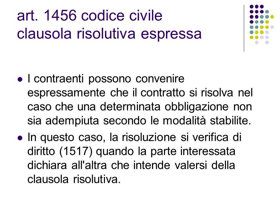art. 1456 codice civile clausola risolutiva espressa I contraenti possono convenire espressamente che il contratto si risolva nel caso che una determi