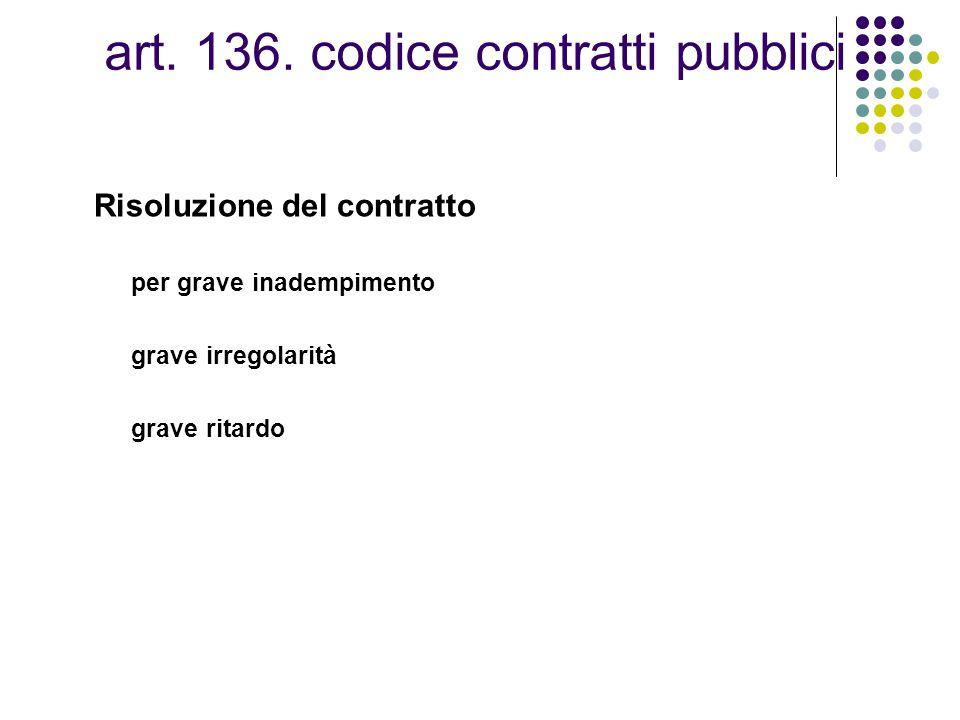 art. 136. codice contratti pubblici Risoluzione del contratto per grave inadempimento grave irregolarità grave ritardo