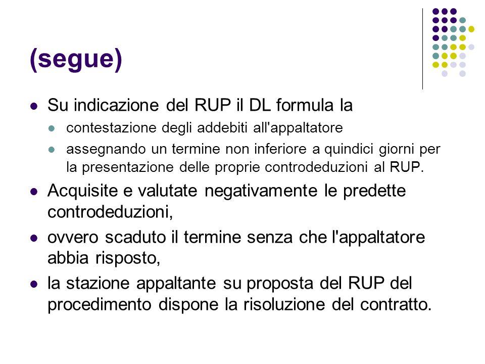 (segue) Su indicazione del RUP il DL formula la contestazione degli addebiti all'appaltatore assegnando un termine non inferiore a quindici giorni per