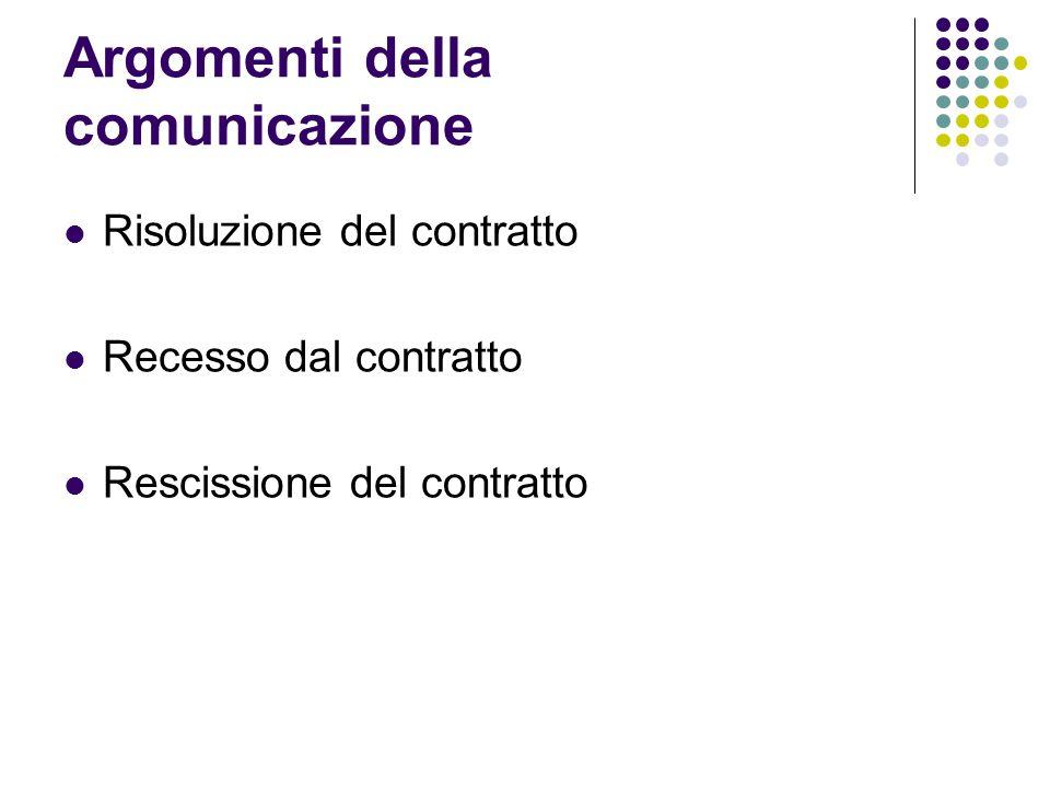 Argomenti della comunicazione Risoluzione del contratto Recesso dal contratto Rescissione del contratto