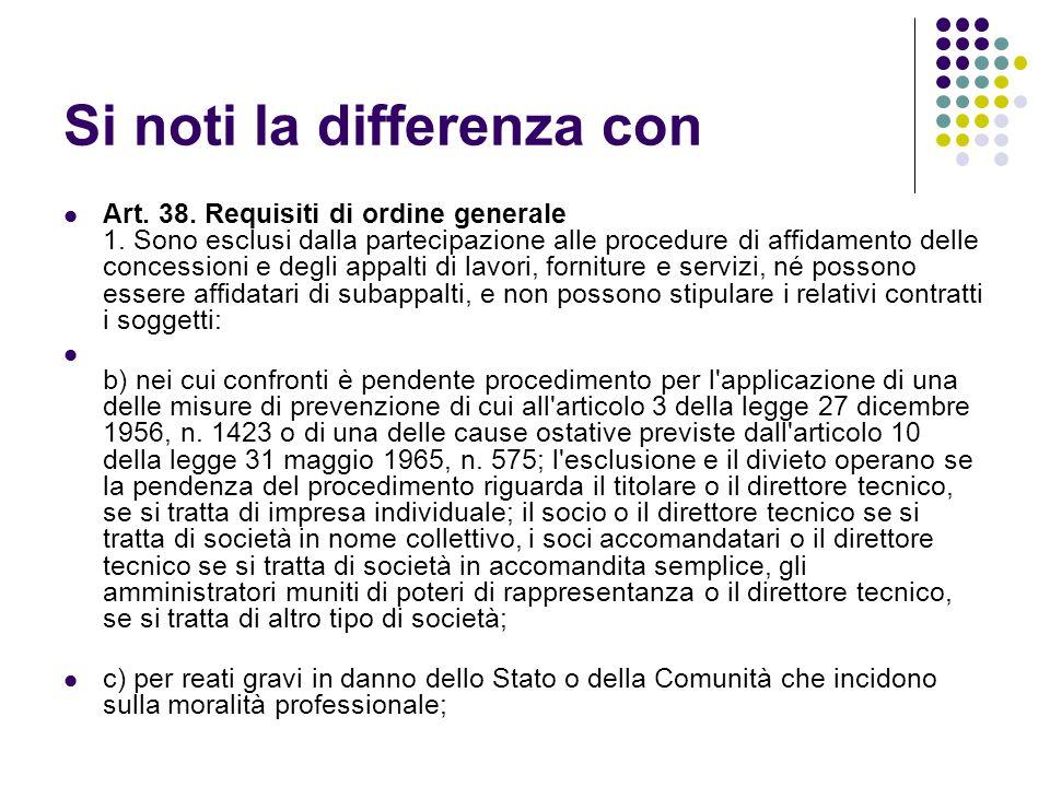 Si noti la differenza con Art. 38. Requisiti di ordine generale 1. Sono esclusi dalla partecipazione alle procedure di affidamento delle concessioni e