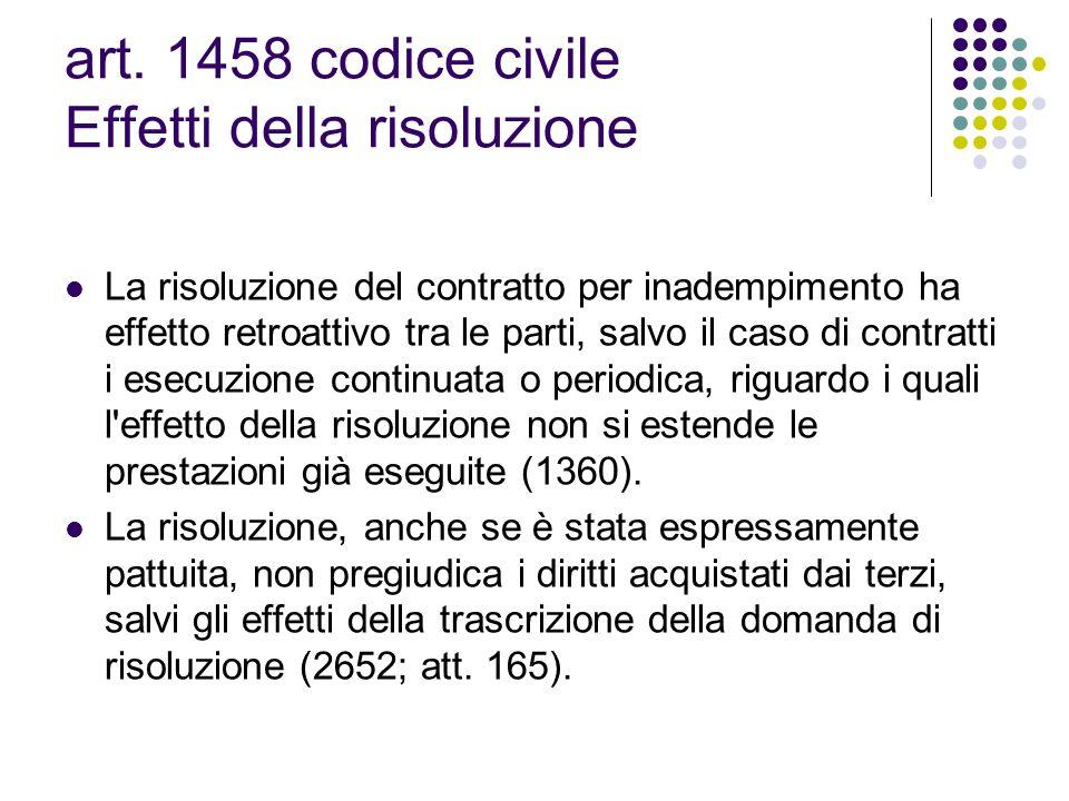 art. 1458 codice civile Effetti della risoluzione La risoluzione del contratto per inadempimento ha effetto retroattivo tra le parti, salvo il caso di