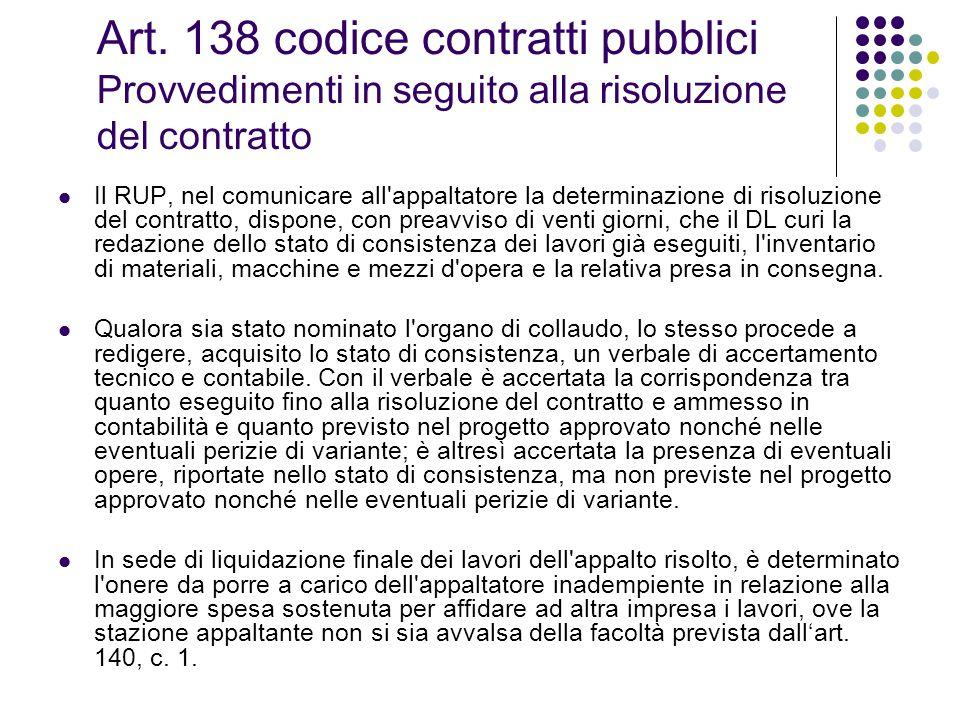 Art. 138 codice contratti pubblici Provvedimenti in seguito alla risoluzione del contratto Il RUP, nel comunicare all'appaltatore la determinazione di