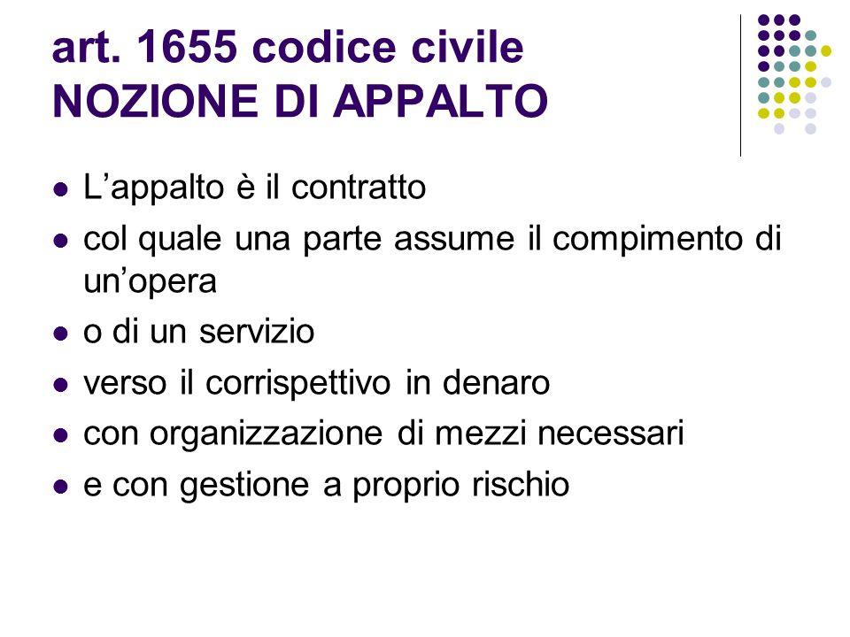 art. 1655 codice civile NOZIONE DI APPALTO L'appalto è il contratto col quale una parte assume il compimento di un'opera o di un servizio verso il cor