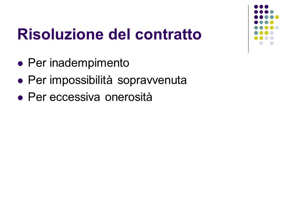 Risoluzione del contratto Per inadempimento Per impossibilità sopravvenuta Per eccessiva onerosità