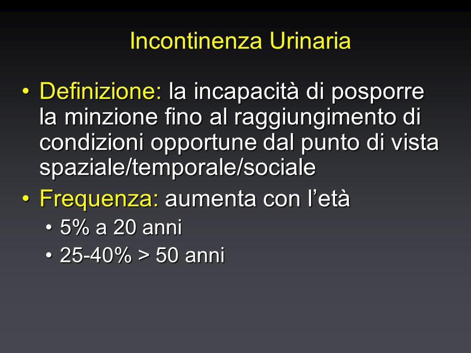 Incontinenza Urinaria Definizione: la incapacità di posporre la minzione fino al raggiungimento di condizioni opportune dal punto di vista spaziale/temporale/socialeDefinizione: la incapacità di posporre la minzione fino al raggiungimento di condizioni opportune dal punto di vista spaziale/temporale/sociale Frequenza: aumenta con l'etàFrequenza: aumenta con l'età 5% a 20 anni5% a 20 anni 25-40% > 50 anni25-40% > 50 anni Definizione: la incapacità di posporre la minzione fino al raggiungimento di condizioni opportune dal punto di vista spaziale/temporale/socialeDefinizione: la incapacità di posporre la minzione fino al raggiungimento di condizioni opportune dal punto di vista spaziale/temporale/sociale Frequenza: aumenta con l'etàFrequenza: aumenta con l'età 5% a 20 anni5% a 20 anni 25-40% > 50 anni25-40% > 50 anni