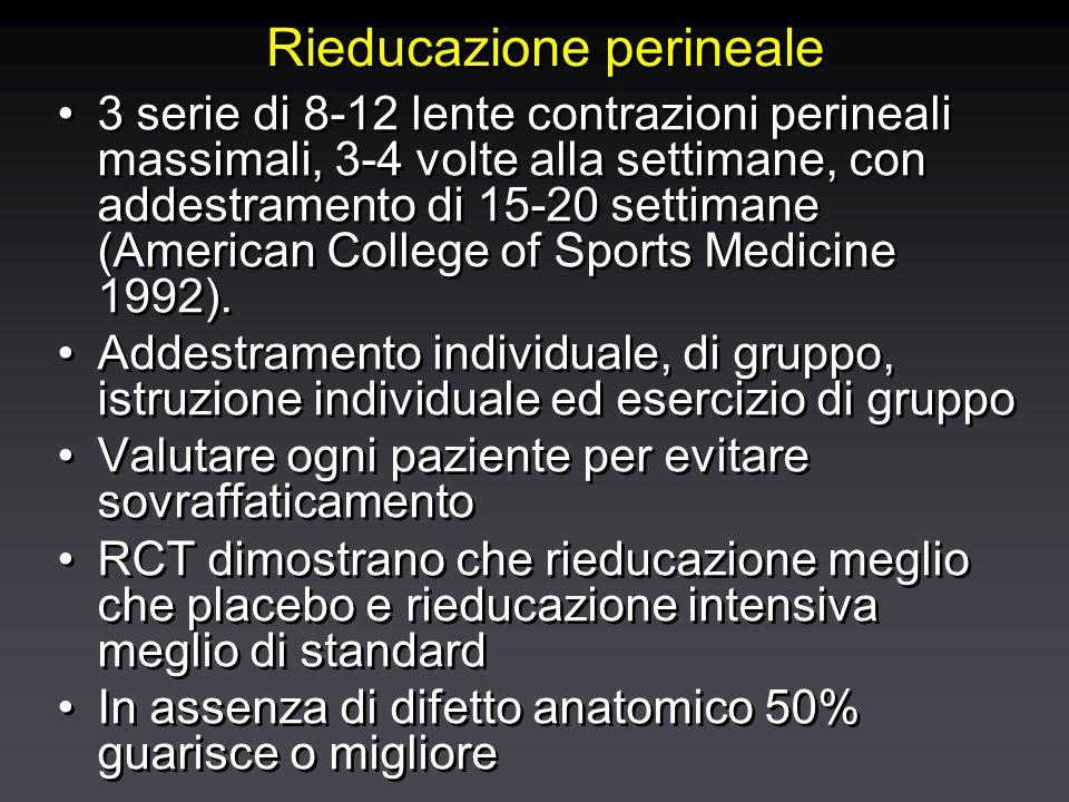 Rieducazione perineale 3 serie di 8-12 lente contrazioni perineali massimali, 3-4 volte alla settimane, con addestramento di 15-20 settimane (American College of Sports Medicine 1992).
