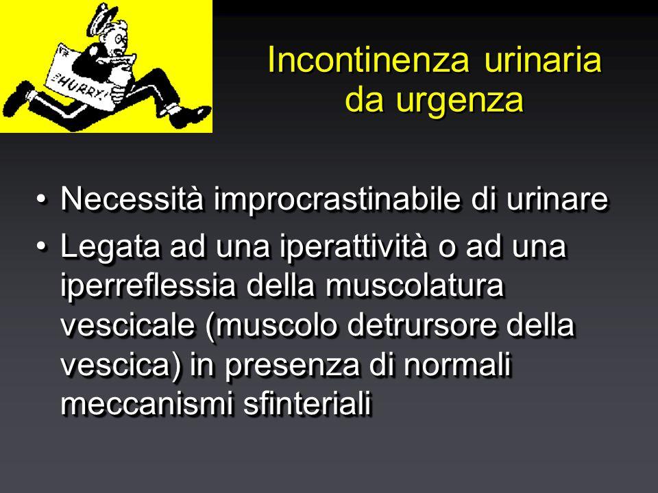 Incontinenza urinaria da urgenza Necessità improcrastinabile di urinareNecessità improcrastinabile di urinare Legata ad una iperattività o ad una iperreflessia della muscolatura vescicale (muscolo detrursore della vescica) in presenza di normali meccanismi sfinterialiLegata ad una iperattività o ad una iperreflessia della muscolatura vescicale (muscolo detrursore della vescica) in presenza di normali meccanismi sfinteriali Necessità improcrastinabile di urinareNecessità improcrastinabile di urinare Legata ad una iperattività o ad una iperreflessia della muscolatura vescicale (muscolo detrursore della vescica) in presenza di normali meccanismi sfinterialiLegata ad una iperattività o ad una iperreflessia della muscolatura vescicale (muscolo detrursore della vescica) in presenza di normali meccanismi sfinteriali