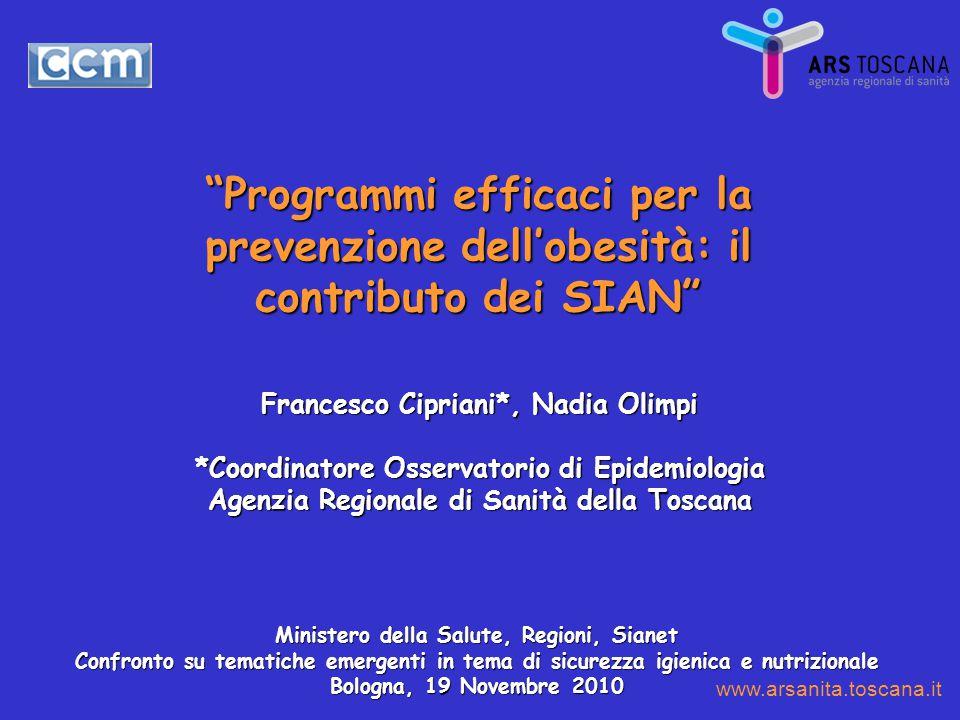 """""""Programmi efficaci per la prevenzione dell'obesità: il contributo dei SIAN"""" Francesco Cipriani*, Nadia Olimpi *Coordinatore Osservatorio di Epidemiol"""