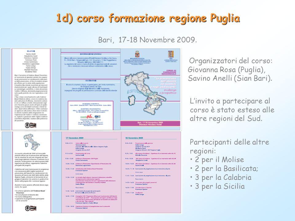 1d) corso formazione regione Puglia Bari, 17-18 Novembre 2009. L'invito a partecipare al corso è stato esteso alle altre regioni del Sud. Partecipanti