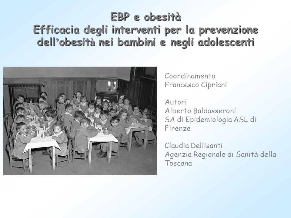 EBP e obesità Efficacia degli interventi per la prevenzione dell ' obesit à nei bambini e negli adolescenti Coordinamento Francesco Cipriani Autori Al