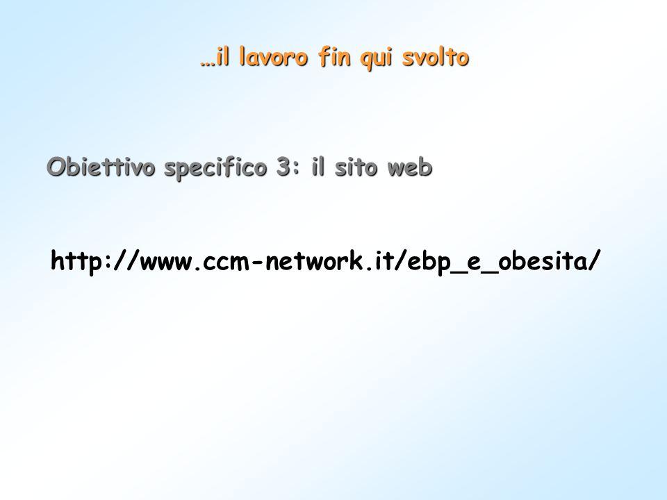 …il lavoro fin qui svolto Obiettivo specifico 3: il sito web http://www.ccm-network.it/ebp_e_obesita/