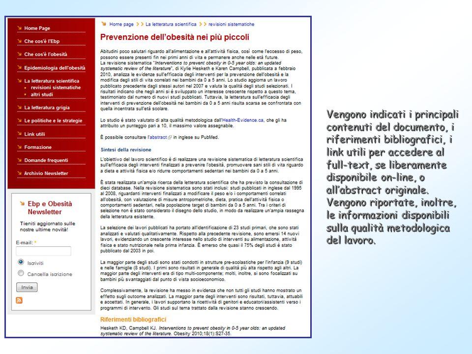 Vengono indicati i principali contenuti del documento, i riferimenti bibliografici, i link utili per accedere al full-text, se liberamente disponibile
