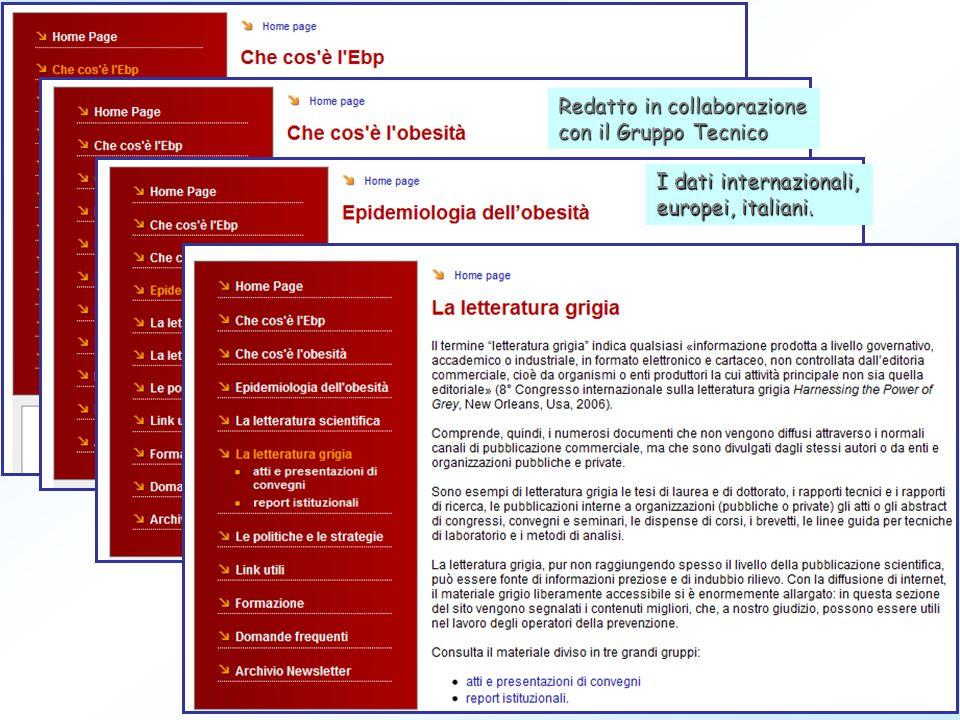 Redatto in collaborazione con il Gruppo Tecnico I dati internazionali, europei, italiani.