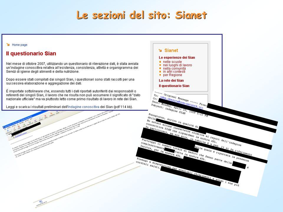 Le sezioni del sito: Sianet