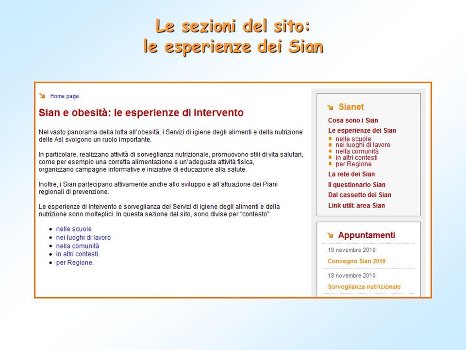 Le sezioni del sito: le esperienze dei Sian