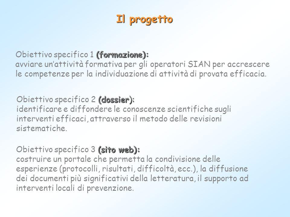 Il progetto (sito web): Obiettivo specifico 3 (sito web): costruire un portale che permetta la condivisione delle esperienze (protocolli, risultati, d