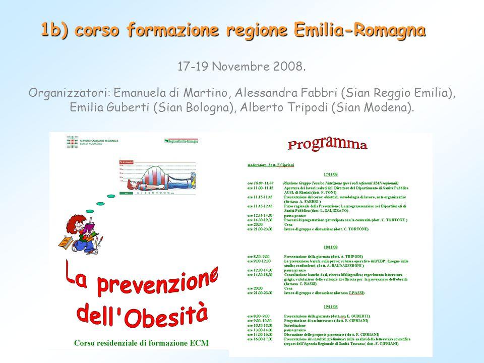 1b) corso formazione regione Emilia-Romagna 17-19 Novembre 2008. Organizzatori: Emanuela di Martino, Alessandra Fabbri (Sian Reggio Emilia), Emilia Gu