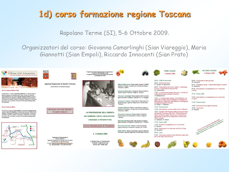 Rapolano Terme (SI), 5-6 Ottobre 2009. 1d) corso formazione regione Toscana Organizzatori del corso: Giovanna Camarlinghi (Sian Viareggio), Maria Gian