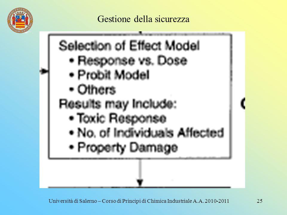Gestione della sicurezza 24Università di Salerno – Corso di Principi di Chimica Industriale A.A. 2010-2011