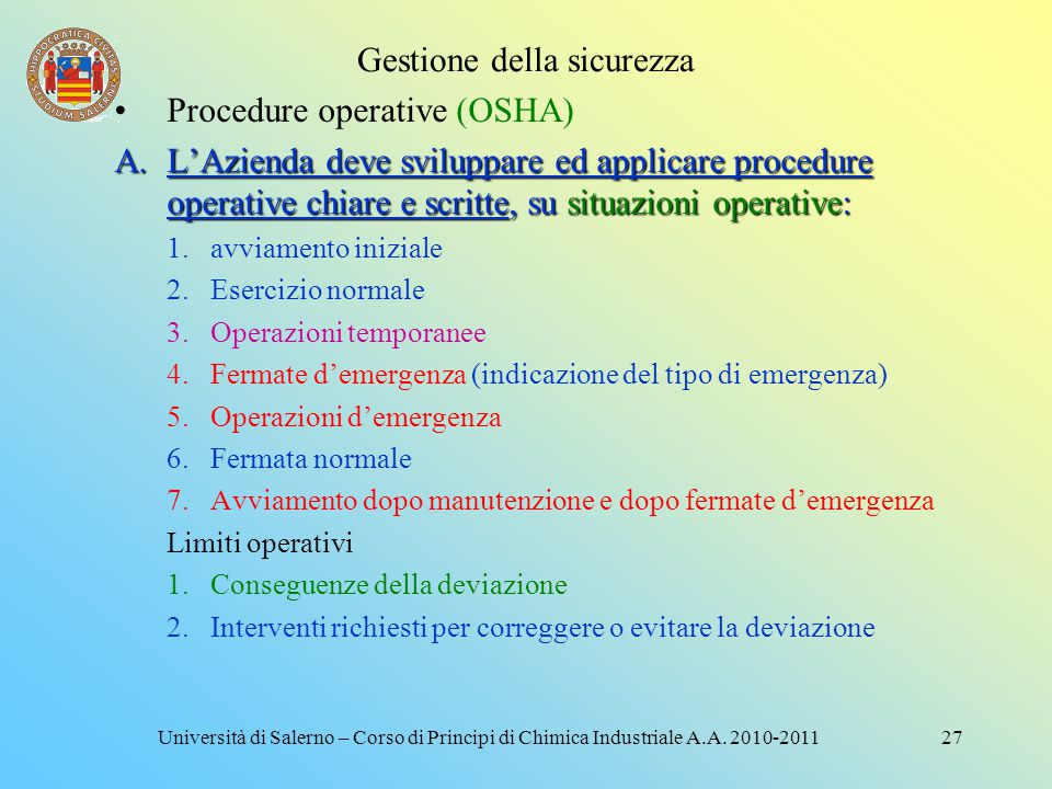 Gestione della sicurezza 26Università di Salerno – Corso di Principi di Chimica Industriale A.A. 2010-2011