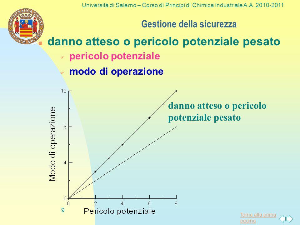 Gestione della sicurezza 19 Università di Salerno – Corso di Principi di Chimica Industriale A.A.