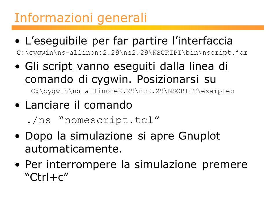 Informazioni generali L'eseguibile per far partire l'interfaccia C:\cygwin\ns-allinone2.29\ns2.29\NSCRIPT\bin\nscript.jar Gli script vanno eseguiti dalla linea di comando di cygwin.