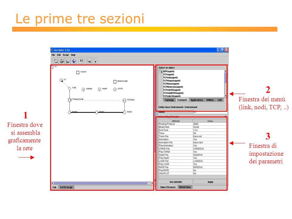 Le prime tre sezioni 1 Finestra dove si assembla graficamente la rete 3 Finestra di impostazione dei parametri 2 Finestra dei menù (link, nodi, TCP,..)