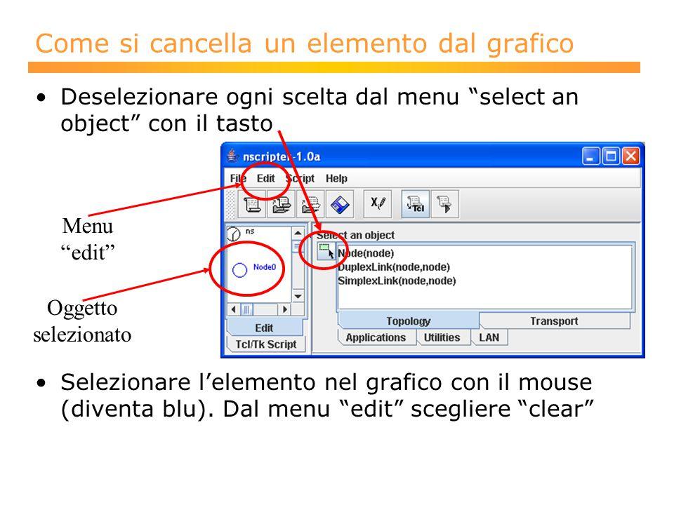 Deselezionare ogni scelta dal menu select an object con il tasto Selezionare l'elemento nel grafico con il mouse (diventa blu).