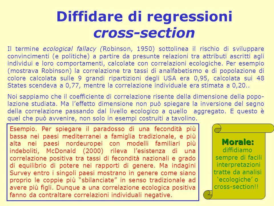 Diffidare di regressioni cross-section Il termine ecological fallacy (Robinson, 1950) sottolinea il rischio di sviluppare convincimenti (e politiche) a partire da presunte relazioni tra attributi ascritti agli individui e loro comportamenti, calcolate con correlazioni ecologiche.