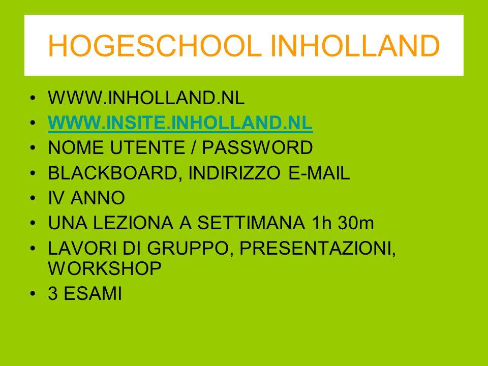 HOGESCHOOL INHOLLAND WWW.INHOLLAND.NL WWW.INSITE.INHOLLAND.NL NOME UTENTE / PASSWORD BLACKBOARD, INDIRIZZO E-MAIL IV ANNO UNA LEZIONA A SETTIMANA 1h 3