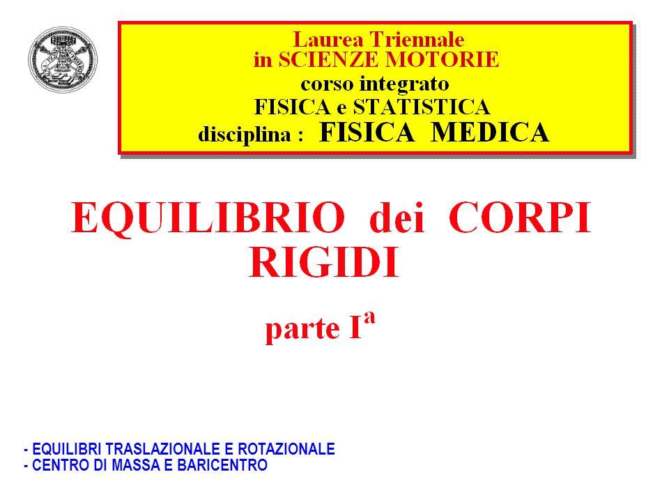- EQUILIBRI TRASLAZIONALE E ROTAZIONALE - CENTRO DI MASSA E BARICENTRO