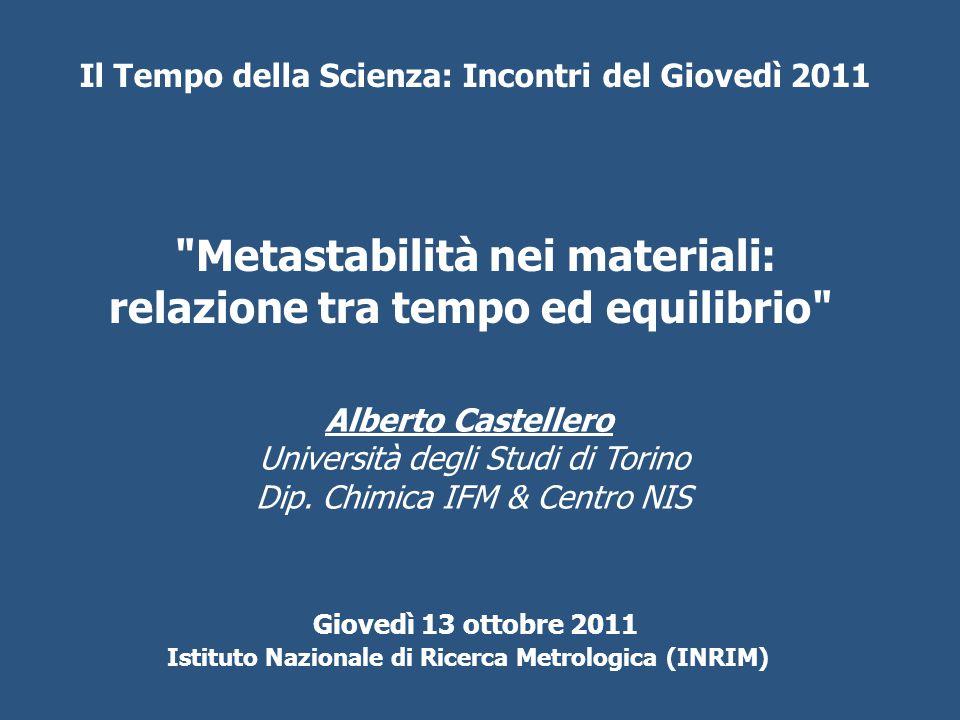Metastabilità nei materiali: relazione tra tempo ed equilibrio Alberto Castellero Università degli Studi di Torino Dip.