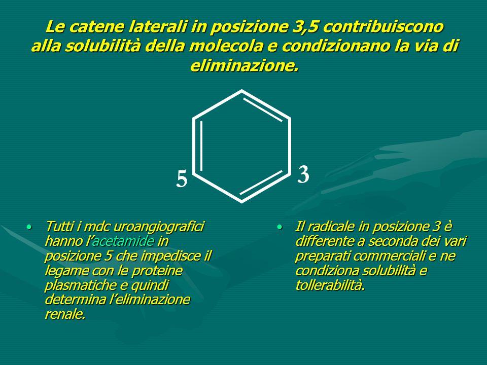 3 5 Le catene laterali in posizione 3,5 contribuiscono alla solubilità della molecola e condizionano la via di eliminazione. Tutti i mdc uroangiografi