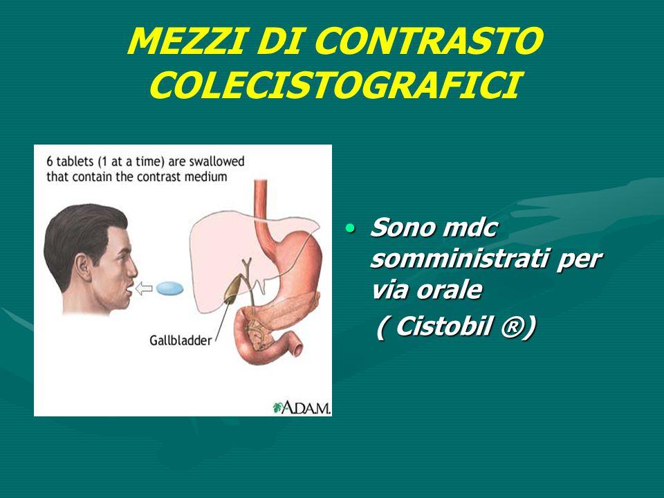 MEZZI DI CONTRASTO COLECISTOGRAFICI Sono mdc somministrati per via orale ( Cistobil ®)