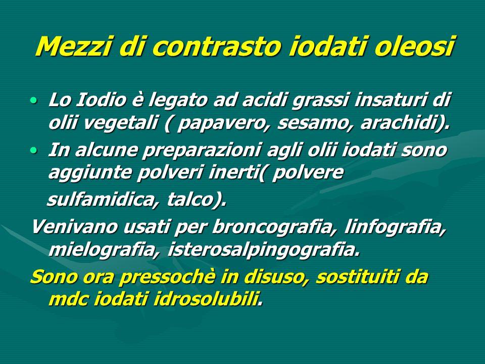 Mezzi di contrasto iodati oleosi Lo Iodio è legato ad acidi grassi insaturi di olii vegetali ( papavero, sesamo, arachidi).Lo Iodio è legato ad acidi