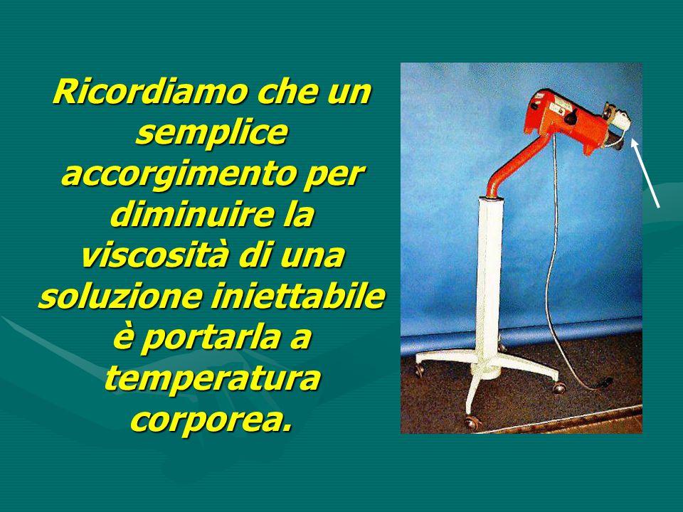 Ricordiamo che un semplice accorgimento per diminuire la viscosità di una soluzione iniettabile è portarla a temperatura corporea.