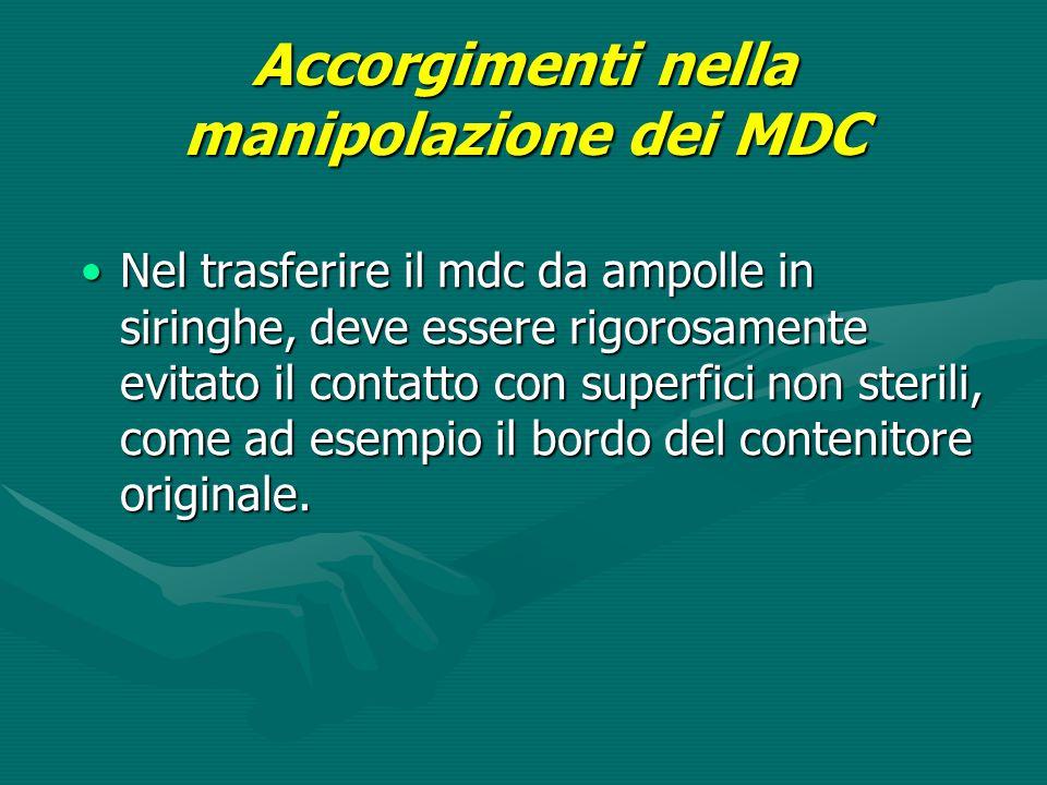 Accorgimenti nella manipolazione dei MDC Nel trasferire il mdc da ampolle in siringhe, deve essere rigorosamente evitato il contatto con superfici non