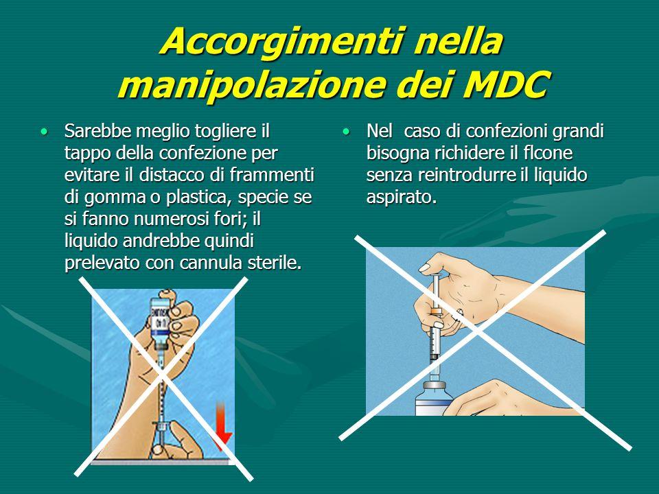 Accorgimenti nella manipolazione dei MDC Sarebbe meglio togliere il tappo della confezione per evitare il distacco di frammenti di gomma o plastica, s
