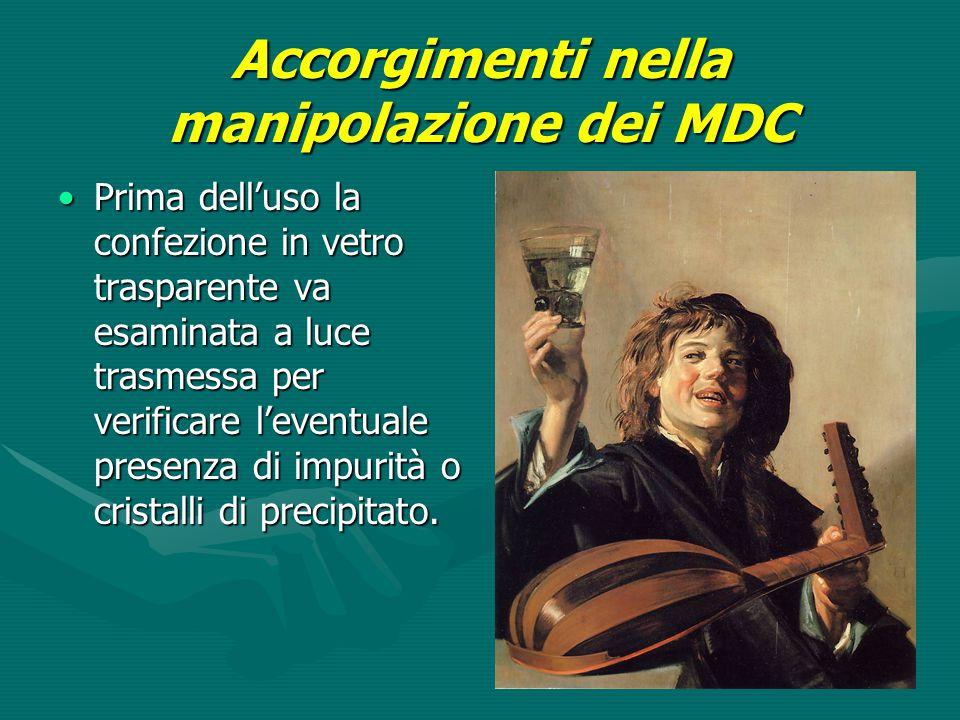 Accorgimenti nella manipolazione dei MDC Prima dell'uso la confezione in vetro trasparente va esaminata a luce trasmessa per verificare l'eventuale pr